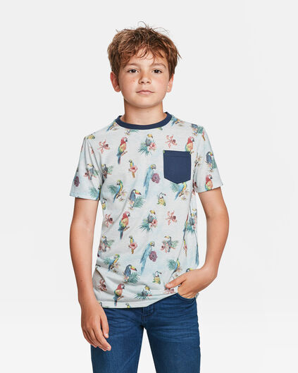T-SHIRT PRINT CHEST POCKET GARÇON Blanc cassé