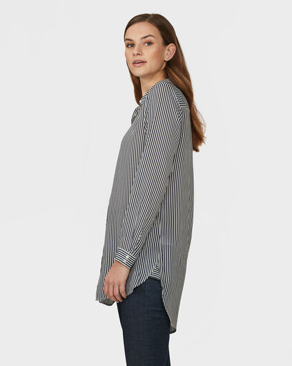 DAMES OVERSIZED STRIPE BLOUSE Donkerblauw