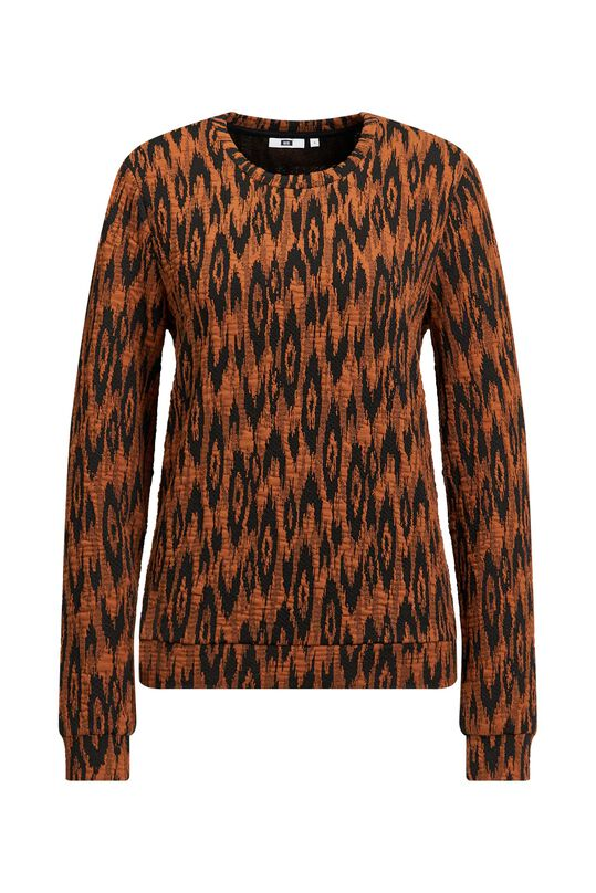 Dames jacquard sweater Cognac