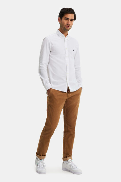 Heren slim fit chino van corduroy Beige