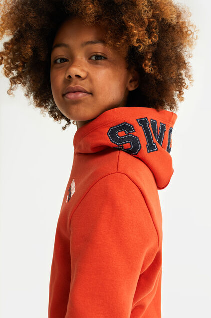 Sweat-shirt à capuchon garçon Orange vif
