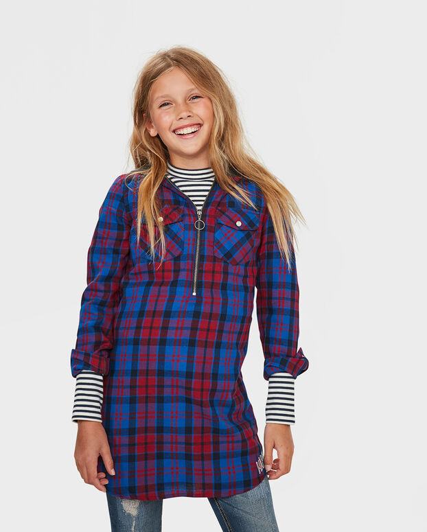 ROBE CHECKED HOODED FILLE Rouge