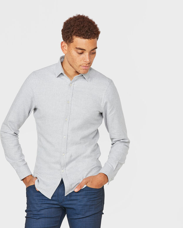 CHEMISE SLIM FIT TWILL HOMME Gris clair