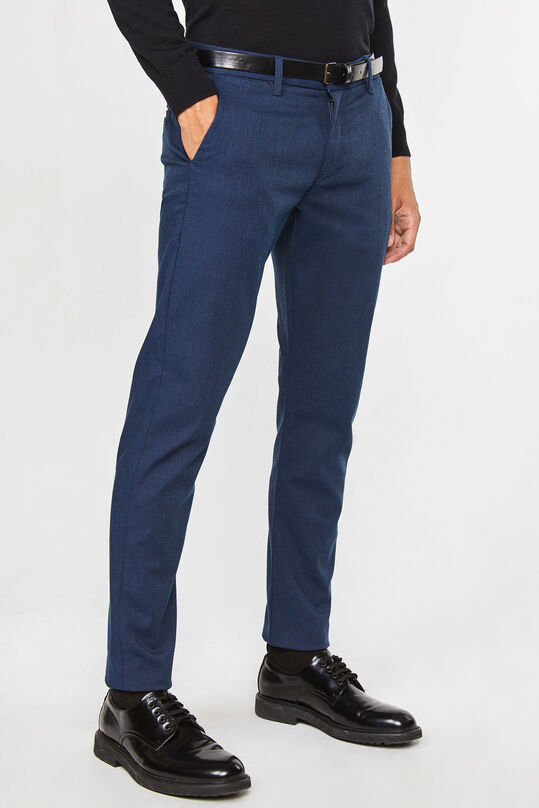 Heren gemêleerde slim tapered chino Donkerblauw