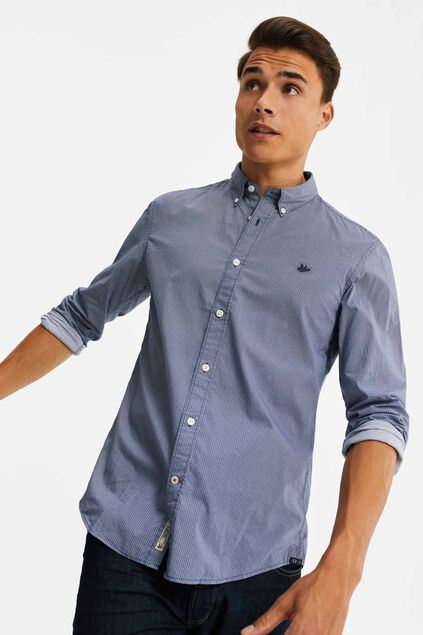 Heren slim fit overhemd met all-over dessin Blauw