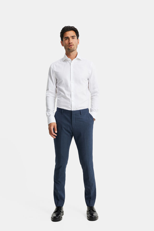 Heren gemêleerde slim fit pantalon, Corr Marineblauw