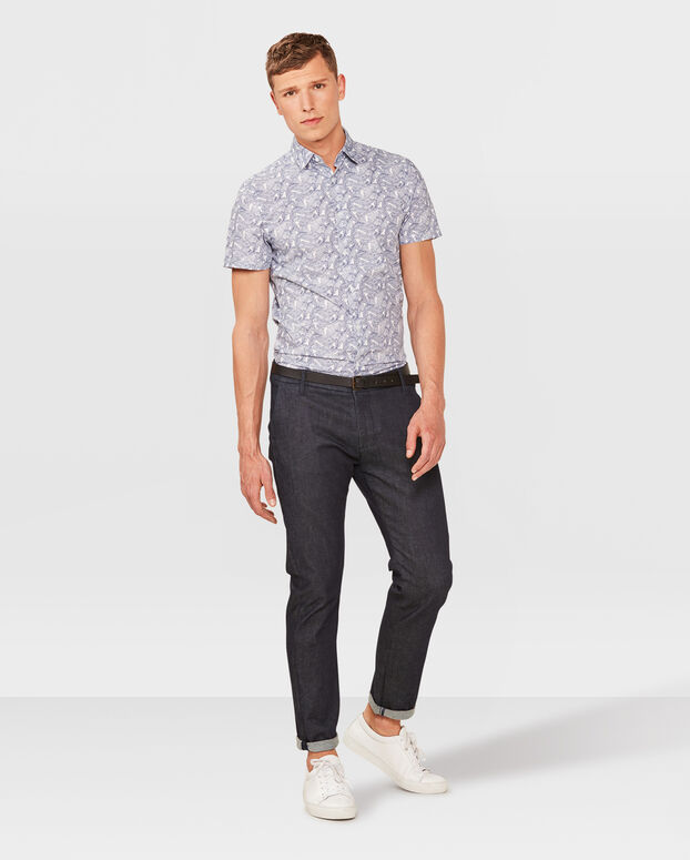 HEREN SLIM FIT PRINT OVERHEMD Blauw
