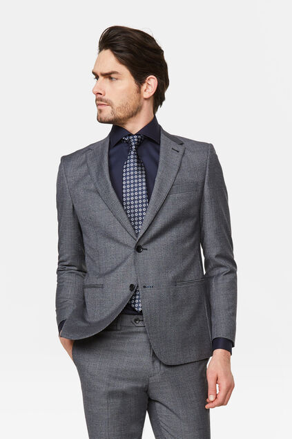 Heren slim fit blazer met pied-de-poule dessin Messina Grijs