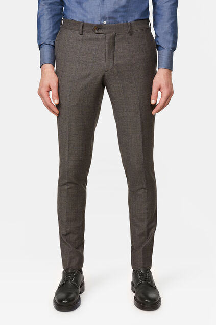 Heren slim fit pantalon met ruitdessin Donkerbruin