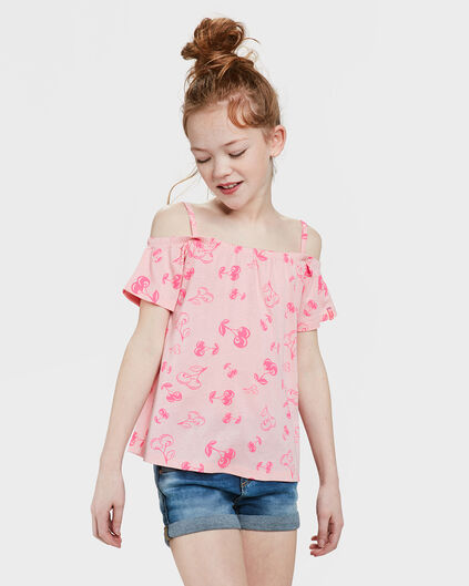 TOP CHERRY PRINT OFF-SHOULDER FILLE Rose