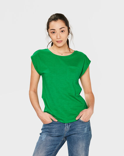 DAMES R-NECK ONE POCKET T-SHIRT Felgroen