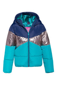 Meisjes colourblock bomberjacket_Meisjes colourblock bomberjacket, Turquoise