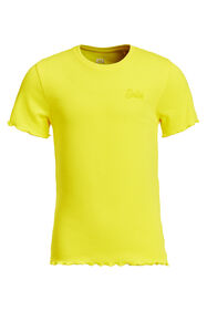 T-shirt slim fit à structure côtelée fille_T-shirt slim fit à structure côtelée fille, Jaune vif