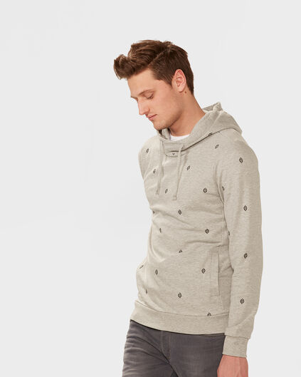 HEREN PRINT HOODED SWEATER Lichtgrijs