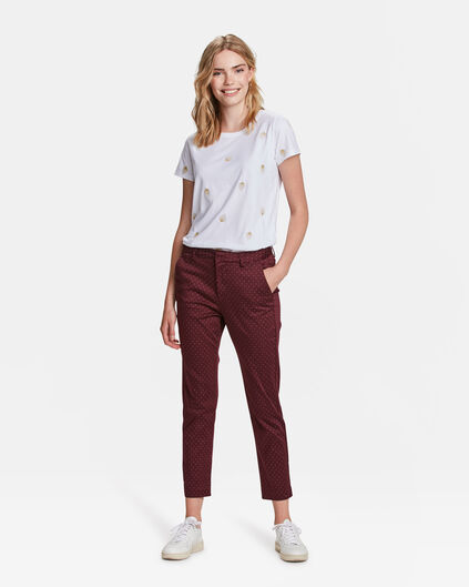 DAMES SLIM FIT CROPPED GRAFISCHE DESSIN CHINO Aubergine