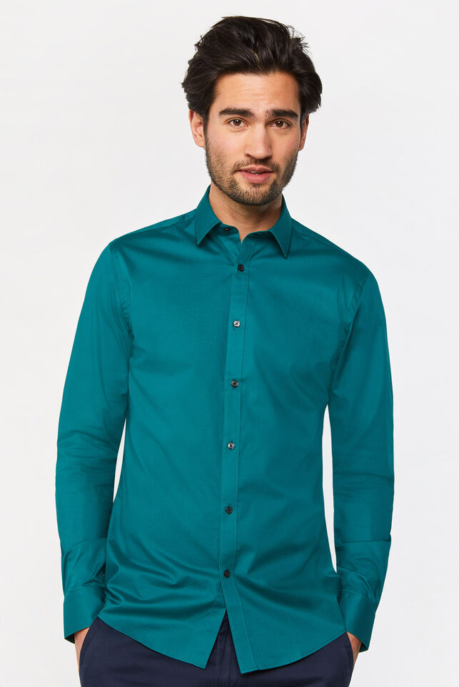 Heren slim fit overhemd met stretch Groen