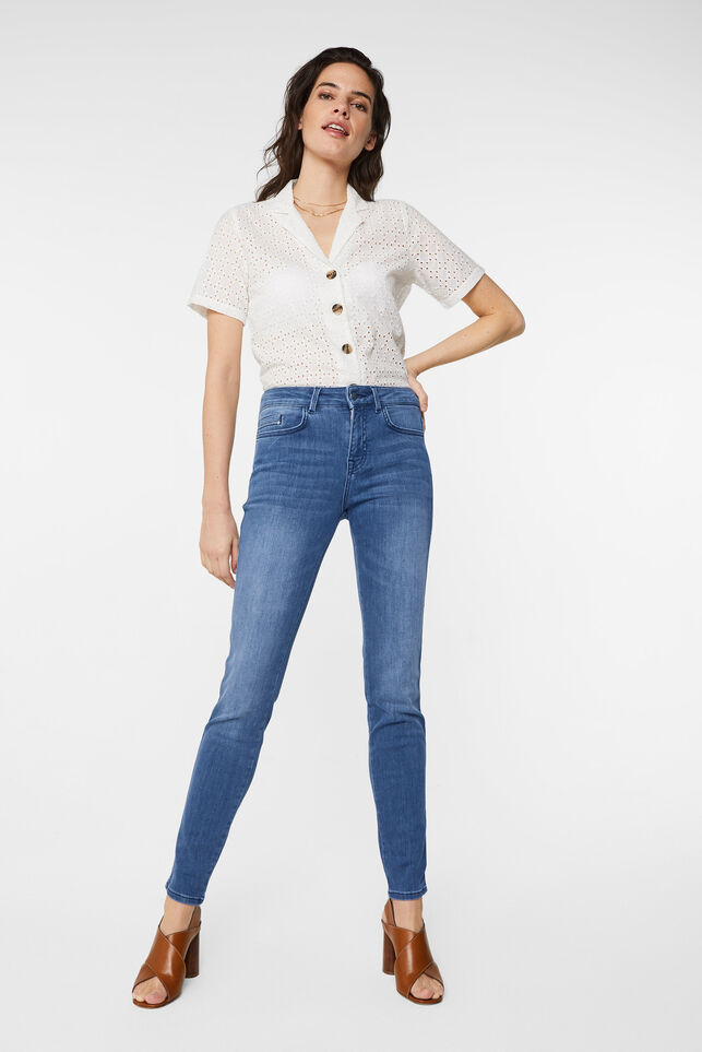 Dames mid rise skinny jeans Donkerblauw