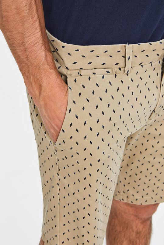 Heren chinoshort met stretch en dessin Beige