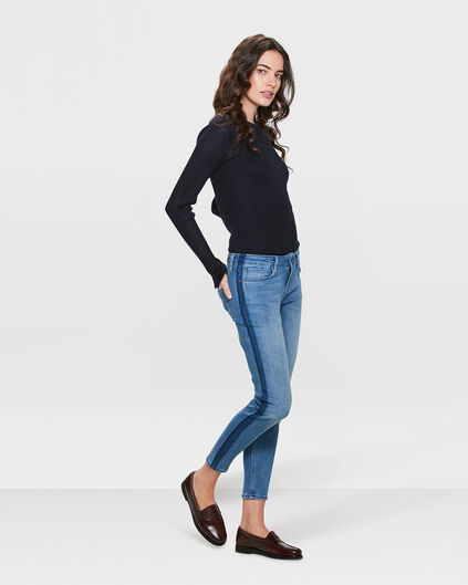 DAMES MID RISE SKINNY FIT HIGH STRETCH SIDE STRIPE CROPPED JEANS Blauw