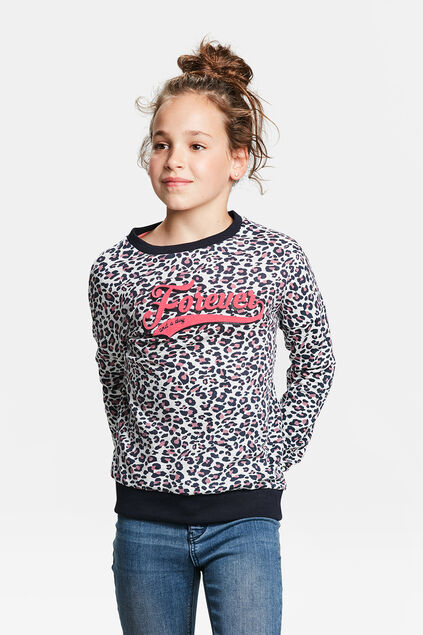 SWEAT-SHIRT A MOTIF FOREVER FILLE Blanc cassé