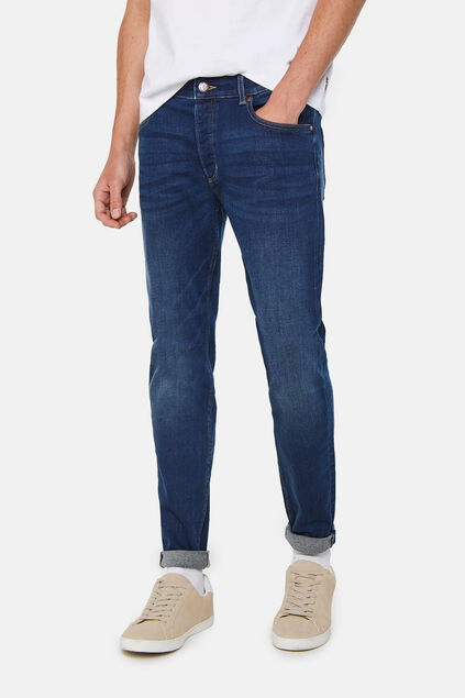Heren skinny fit jog denim jeans Donkerblauw