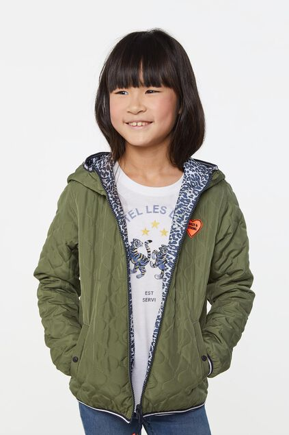 Meisjes reversible parka met capuchon All-over print