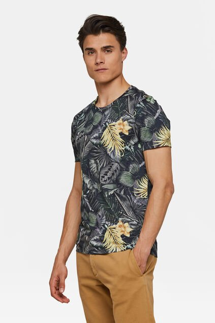Heren bloemenprint T-shirt Legergroen