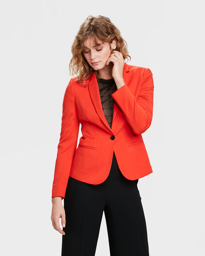 DAMES JERSEY SLIM FIT BLAZER Rood