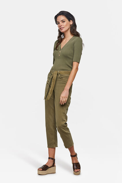 Dames high rise broek Khaki