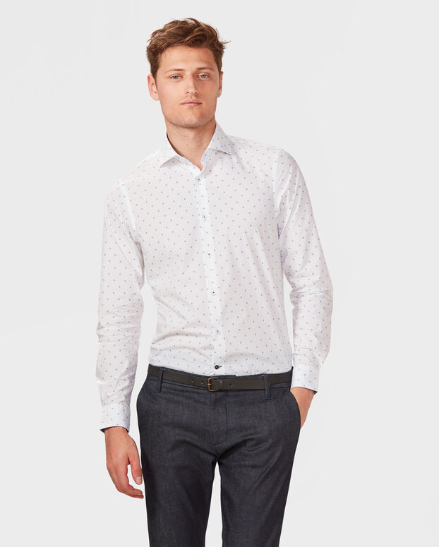 HEREN REGUALR FIT FINEST COTTON OVERHEMD Wit