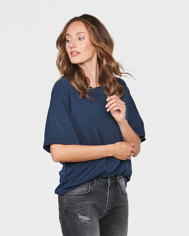 DAMES BOXY FIT MODAL TOP Marineblauw