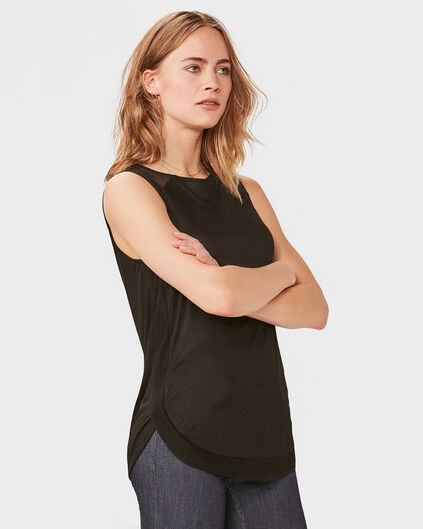 DAMES SLEEVELESS CONTRAST TOP Zwart