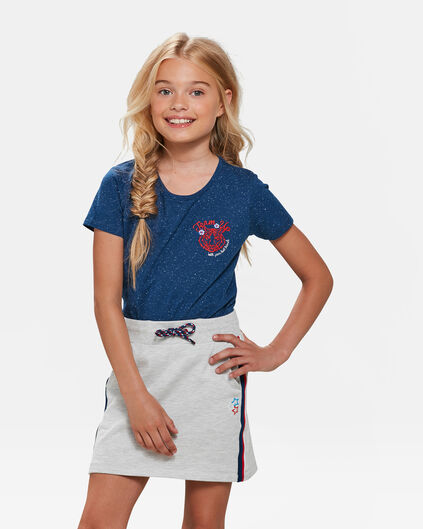 T-SHIRT TIGER EMBROIDERY FILLE Bleu