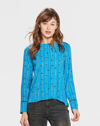 DAMES PRINTED BLOUSE Blauw