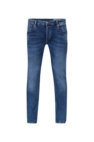 Heren slim tapered stretch jeans_Heren slim tapered stretch jeans, Blauw