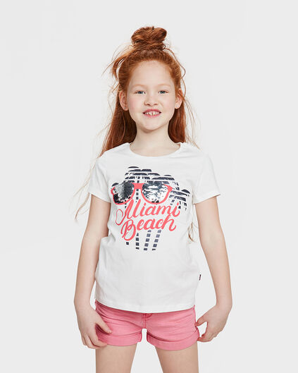 T-SHIRT MIAMI BEACH PAILLETTES RÉVERSIBLES FILLE Blanc