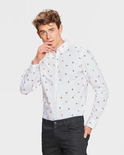 HEREN SLIM FIT BIRD PRINT OVERHEMD Wit