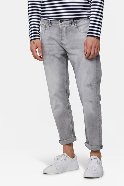 Jeans relaxed cropped tapered comfort stretch homme Gris clair