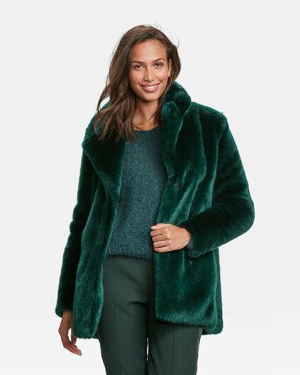 DAMES FAUX FUR MANTEL Mosgroen