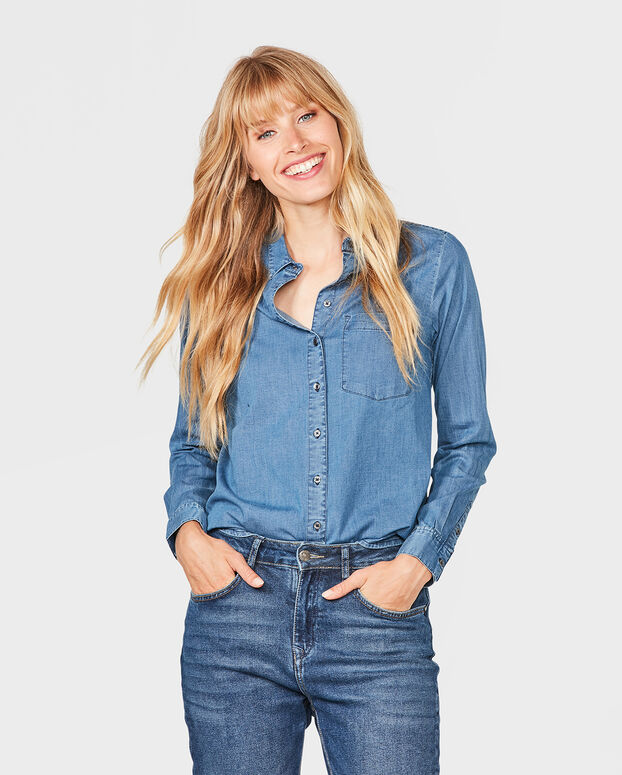 DAMES REGULAR FIT DENIM BLOUSE Lichtblauw