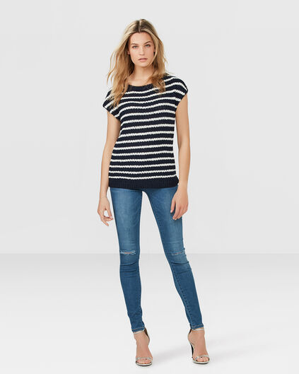 DAMES MID RISE SUPER SKINNY RIPPED JEANS Blauw
