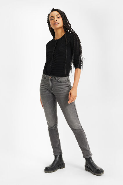 Jeans skinny mid-rise femme Gris