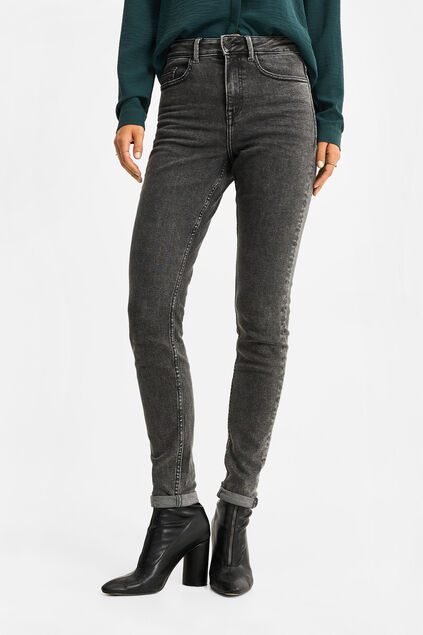 Dames high rise skinny jeans Donkergrijs