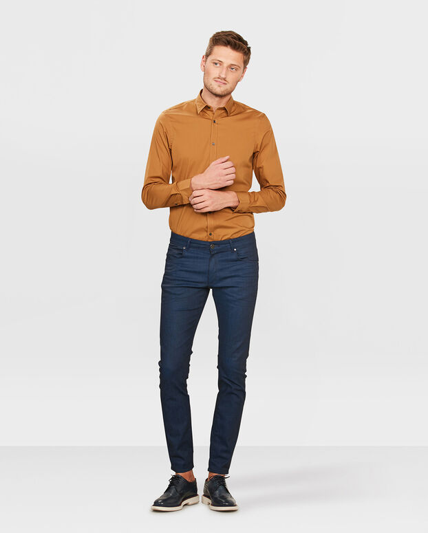 HEREN SLIM FIT STRETCH OVERHEMD Caramel