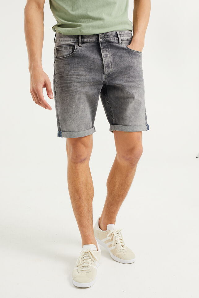 Short denim homme Gris
