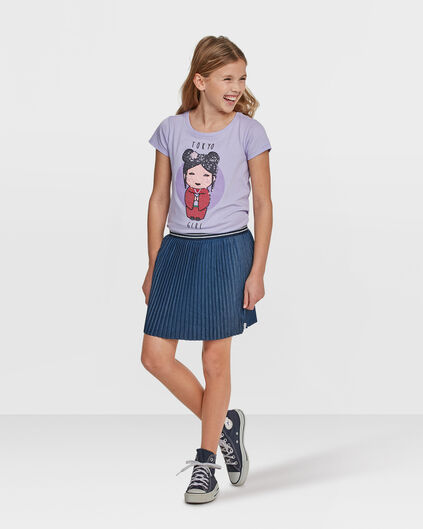 JUPE DENIM PLEATED FILLE Bleu