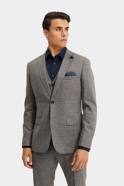 Heren slim fit geruite blazer, Carey Grijs