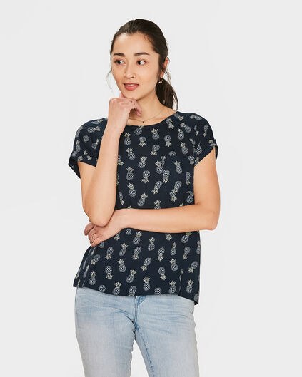 DAMES PINEAPPLE PRINT TOP Marineblauw