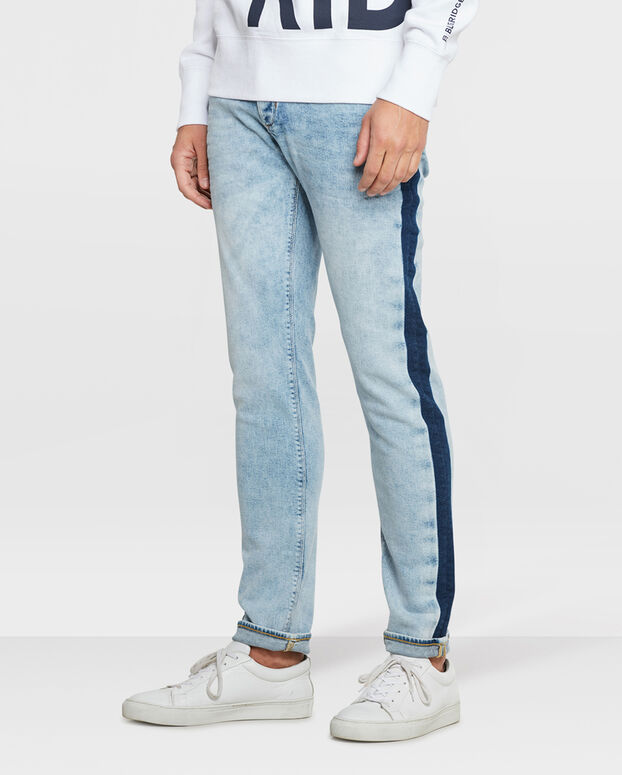 HEREN SKINNY TAPERED STRETCH CONTRAST STRIPE JEANS Lichtblauw