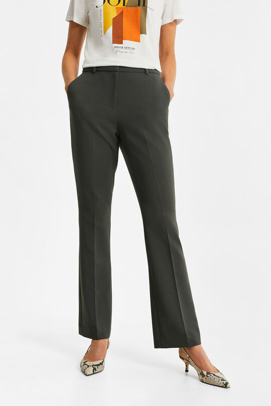 Dames slim fit flared pantalon Grijsgroen